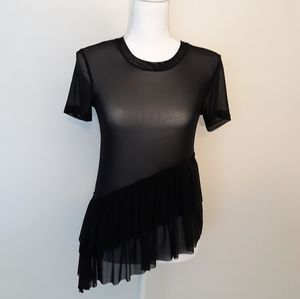 BP sheer mesh assymetrical ruffle top shirt XXS XS